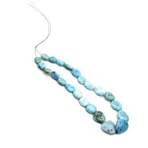 145cts Larimar Tumble Nuggets 8x10 to 12x20mm, 30cm Strand
