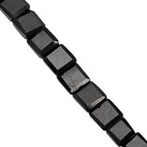 70cts Black Spinel Faceted Square Approx 4mm to 6.5mm, 31cm Strand