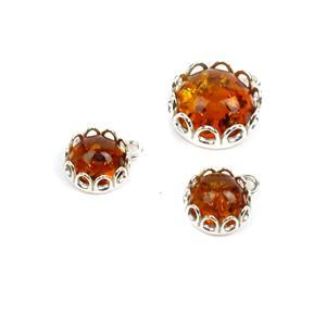 Baltic Cognac Amber Sterling Silver Pendants, Inc. 2x 8mm, & 1x 12mm (3pk)