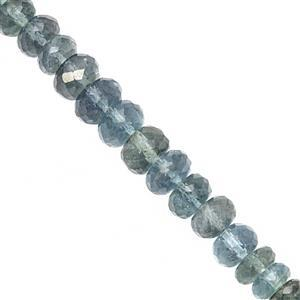 Natural 50cts Midnight Aquamarine Graduated Faceted Rondelles Approx 4.5x2.5 to 7x4mm, 19cm Strand