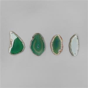 DEAL OF THE DAY; 230cts Green Agate Drilled Slabs 4pcs/Set