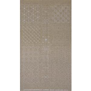 Sashiko Tsumugi Preprinted Geo 20 Grey Fabric Panel 108x61cm
