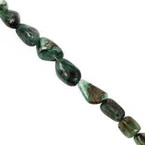 135cts Emerald Graduated Smooth Nugget Approx 8.5x6.5mm to 21x12mm, 22cm strand