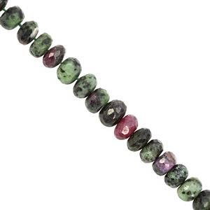 82cts Ruby Zoisite Graduated Faceted Rondelle Approx 6x2 to 9x5.5mm, 15cm Strand