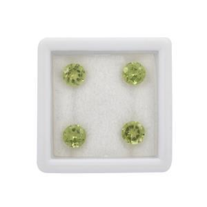 1.50cts Peridot Brilliant Round Approx 5mm Loose Gemstones, (Pack of 4)