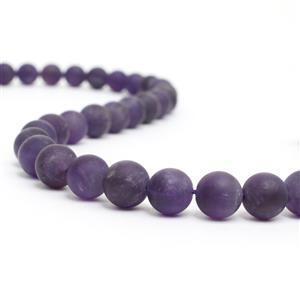 275cts Amethyst Matt Plain Rounds Approx 10mm, 38cm strand