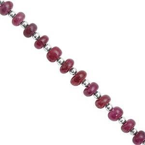 42cts Ruby Graduated Smooth Rondelle Approx 4x2 to 6x4mm, 18cm Strand with Spacers