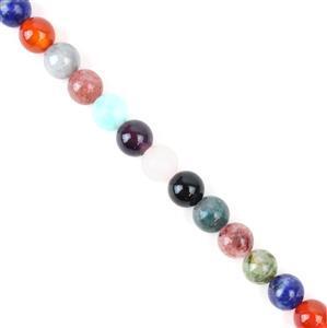 160cts Multi-Colour gems  Plain Round 8mm 38cm strand