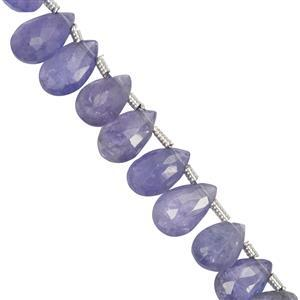 31cts Tanzanite Faceted Pear Approx 3x5.5mm to 4.8x8mm 20cm Strand with Spacers