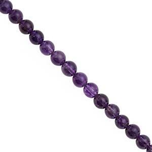 70cts Dark Amethyst Smooth Round Approx 5.50 to 6.50mm, 28cm Strand