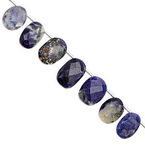 85cts Sodalite Top Side Drill Graduated Faceted Oval Approx 11.25x7.5mm to 17.5x12mm, 19cm Strand with Spacers