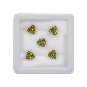 3.25cts Peridot Brilliant Trillion Approx 6mm Loose Gemstones, Pack of 5