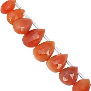 85cts Carnelian Graduated Top Side Drill Faceted Pear Approx 8.5x5.5 to 19x13.5mm, 20cm Strand with Spacers