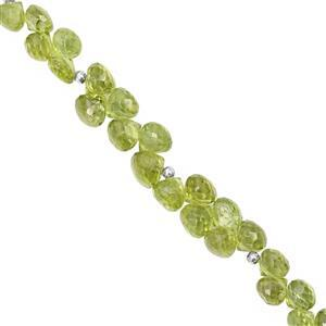 48cts Peridot Faceted Onion Approx 4.5 to 6.5mm, 15cm Strand with Spacers
