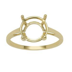 9ct Gold Round Ring Mount (To fit 10x10mm gemstone)
