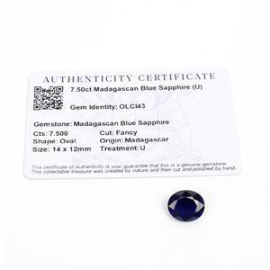 7.5cts Madagascan Blue Sapphire 14x12mm Fancy  (U)