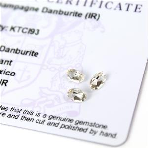 1.1cts Champagne Danburite 6x4mm Oval Pack of 3 (I)