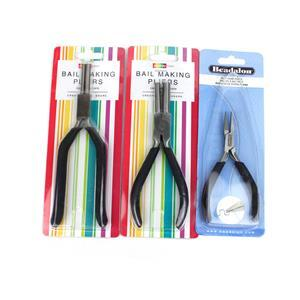 Bail Making Pliers 6mm and 8.5mm, 3mm and 5mm, Plus Beadalon Designer Flat Nose Pliers