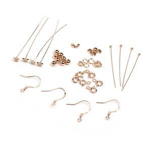 Rose Gold Plated 925 Sterling Silver Findings Pack With Cubic Zirconia Star Headpins 40pc