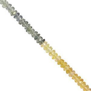 18cts Multi-Colour Sapphire Faceted Rondelles Approx 2x1 to 3x1mm, 20cm Strand