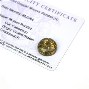 9.5cts Copper Mojave Peridot 15x15mm Round  (R)
