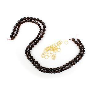 Star Cut Smokey Quartz Chainmaille Goddess Bracelet Kit Gold Plated Sterling Silver