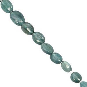 12cts Grandidierite Center Drill Graduated Smooth Oval Approx 3x2.5 to 5.5x4.5mm, 21cm Strand
