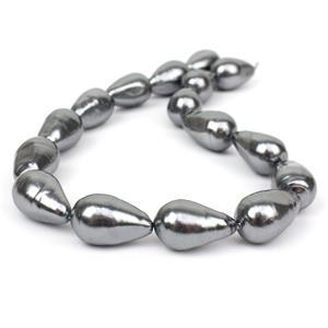 Dark Grey Baroque Drop Shell Pearls Approx 16x25mm, 38cm strand