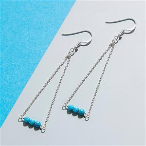 925 Sterling Silver Trapeze Earrings Kit With Turquoise Rondelles (1pair)