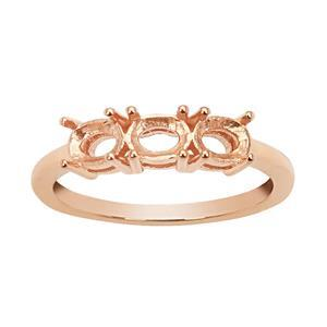 Rose Gold Plated 925 Sterling Silver Oval Trilogy Ring Mount (To fit 5x4mm gemstones)- 1Pcs