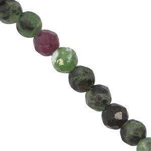 33.50cts Ruby Zoisite Faceted Round Approx 4mm, 27cm Strand