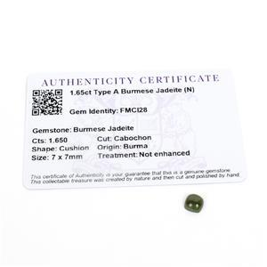 1.65cts Type A Burmese Jadeite 7x7mm Cushion  (N)