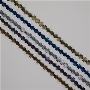 1000cts Matt Finish Multi-Colour Haematite Faceted Flowers Approx 12mm, 38cm Strands (Set of 5)