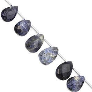 75cts Sodalite Top Side Drill Graduated Faceted Heart Approx 11 to 16mm, 16cm Strand with Spacers