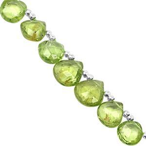 32cts Kashmir Peridot Top Side Drill Faceted Heats Approx 4 to 7mm, 19cm Strand with Spacers