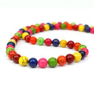 90cts Dyed Multi-Colour Magnesite Plain Rounds Approx 6mm, 38cm Strand
