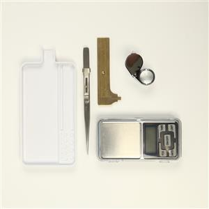 Gemstone Tool Bundle inc. Gem Sorting Tray, Diamond Tweezers with Lock, Digital Scales, Eye Loupe & Brass Gauge