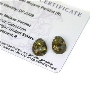 7.8cts Copper Mojave Peridot 14x10mm Pear Pack of 2 (R)