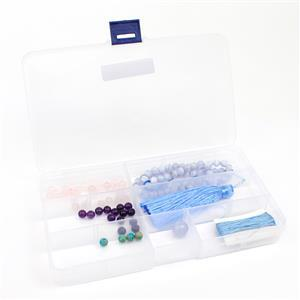 Knotted Gemstone Tassel Jewellery Making Kit with Turquoise, Amethyst, Chalcedony & Quartz