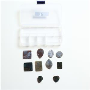 160cts Fancy Jasper Cabochon Assorted Shapes and Sizes Pendant (Set of 10 )