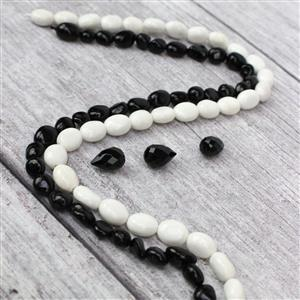 200cts Black Tourmaline Nuggets,White Agate Nuggets,Black Agate Faceted Drops