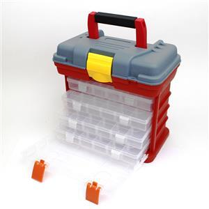 Red & Grey Carry Storage case with drawers and handle