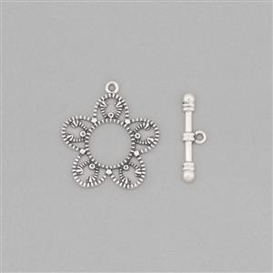 925 Sterling Silver Oxidized Flower Vintage Toggle Clasp T-Bar Approx 20x5mm & Clasp Approx 24x21mm