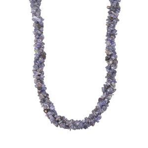 Tanzanite 3 Line Twisted Nugget Bead Necklace in Sterling Silver 340cts