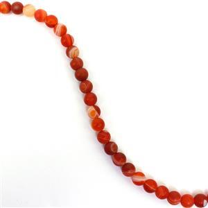 90cts Dyed Red Stripe Agate Matte Rounds Approx 6mm, 38cm