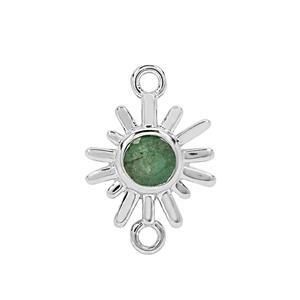 925 Sterling Silver Sunray Connector with 0.6cts Sakota Emerald Approx. 20x14mm (1pc)