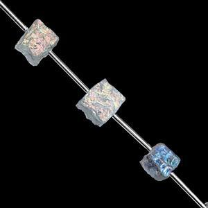 155cts Clear Coated Quartz Hammered Cube Approx 11 to 16.50mm, 16cm Strand with Spacers