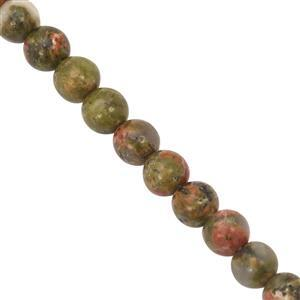 42cts Unakite Smooth Round Approx 4mm, 27cm Strand