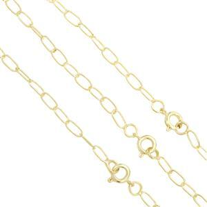 "18"" Gold Plated Base Metal Cable Chain, Approx. 7x3.5mm (3pk)"