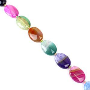280cts Multi-Colour Agate Puffy Ovals Approx 20x15mm 38cm strand,